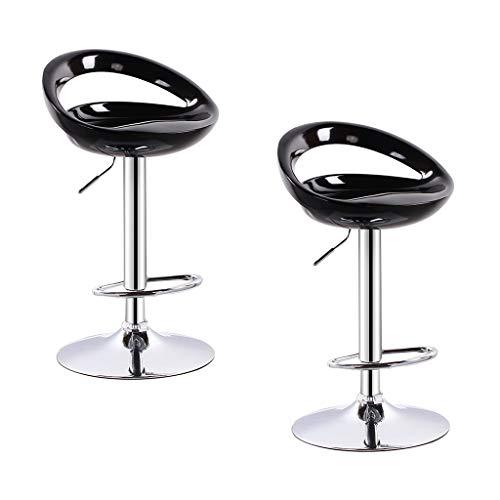2 Stücke Moderne Barhocker Swivel Leder Höhenverstellbar Pub Bar Stuhl für Wohnzimmer Möbel Bar Zubehör TAO LU Shop (Farbe : Schwarz) -