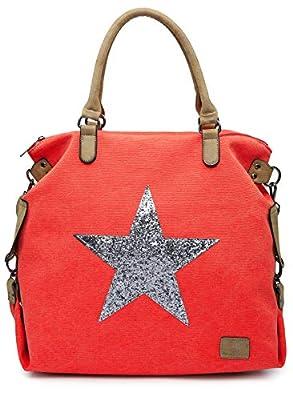 Big Handbag Shop Canvas Rainproof Fabric Trendy Designer Inspired Large Size Glitter Star Top Handle Tote Hobo Shoulder Bag