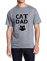 5191a703bcd31 YUHX Mujeres Hombres Cuello Redondo Mangas Cortas Cat MOM Dad Carta de  Dibujos Animados gráfico