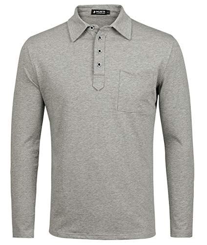 1ca68081a30d Kuson Herren Polo Shirt Poloshirt Langarm Elegante Regular Fit Langarmpolo  für Männer Grau XL