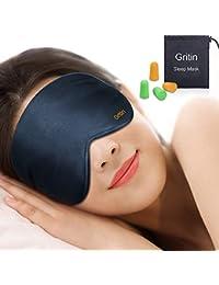 Gritin Antifaz para Dormir, 100% Anti-Luz Opaco Cómoda Agradable para la Piel Tela de Seda Natural Puro y Puros de Algodón Relleno Antifaces Máscara(Azul Oscuro)