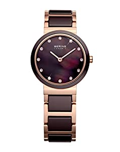 Bering Classic - Reloj de cuarzo para mujer, con correa de acero inoxidable, color marrón de Bering