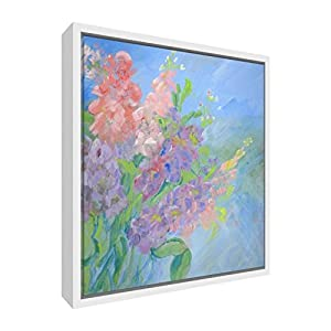 Feel Good Art Glowing Petals Giclee Printed Frame Canvas with Solid White Wooden Frame Surround, Multi-Colour, Small, 34 x 24 x 3 cm