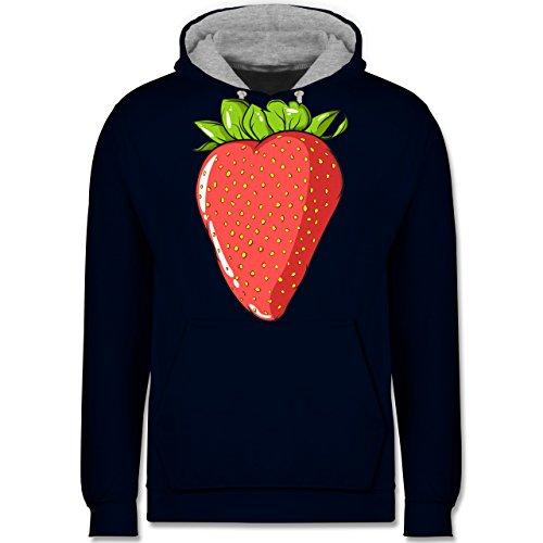Statement Shirts - Erdbeere - Kontrast Hoodie Dunkelblau/Grau meliert