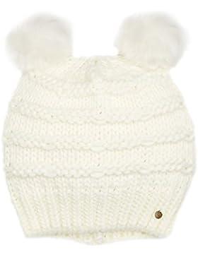 Tommy Hilfiger Damen Strickmütze Chunky Knit 2POM Pom Beanie, Elfenbein (Marshmallow 108), One Size