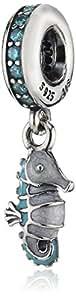 Pandora Damen-Charm 925 Sterling Silber Emaille Zirkonia blau 791311MCZ