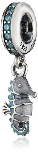 Pandora Women's 925 Sterling Silver Square Turquoise Cubic Zirconia Seahorse Charm