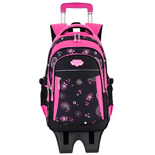 Zaino scuola trolley,fanspack zaino trolley 3 ruote zaini scuola bambino elementare zaini per ragazza (fucsia)