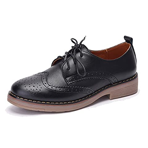 Moonwalker Women's Leather Lace Up Oxfords Wingtip Brogue Shoes (5.5 UK 38 EUR,Navy)