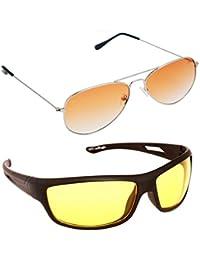 Magjons Fashion Combo Of Orange Aviator And Night Driving Sunglasses