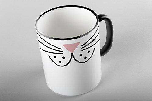 Bullshirt Cartoon Katze Nase schwarz zweifarbigen Tasse., keramik, weiß / (Katze Nase Weiße)