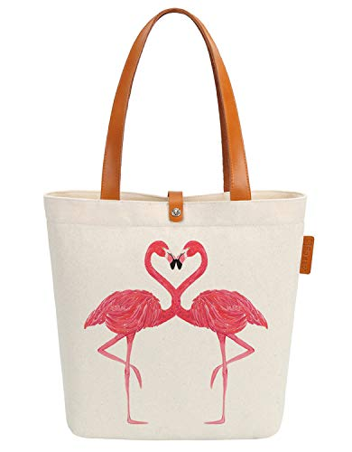 al Flamingo Graphic Top Handle Canvas Tote Shoulder Bag ()