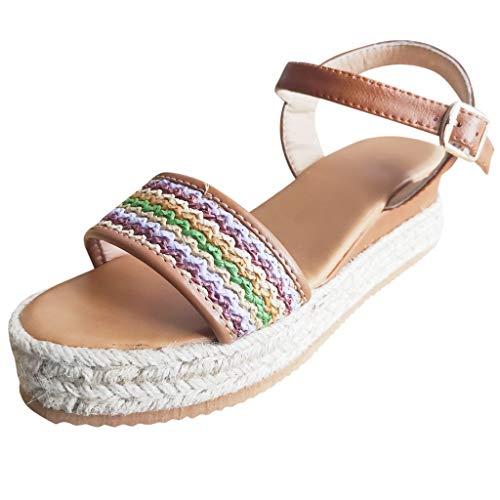TUDUZ Damen Peep Toe Breathable Strand Sandalen Rom Schnalle Casual Wedges Schuhe Damen Sandalen mit Keilfischmund Arbeits- Berufsschuhe(Braun,37EU)
