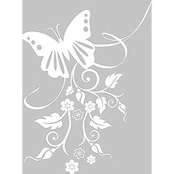 GRAZDesign 560003_57_010 Wandtattoo Blumen mit Schmetterling | Blumentattoo für Wohnzimmer - Schlafzimmer - Küche (76x57cm // 010 weiss)