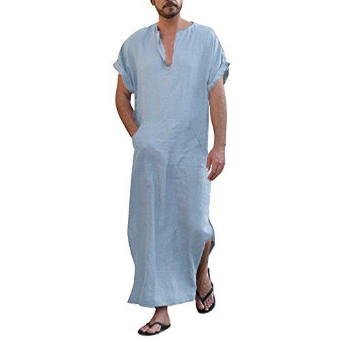 Zolimx Herren Ethnische Roben Lose Gestreiften Langarm mit Kapuze Vintage V-Ausschnitt Casual Kleid Kaftan (Blau, XL)