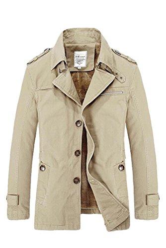 Männer Kleid Jacke (Vogstyle Herren Jungen Langarm Cabanjacke Reverskragen Trenchcoat Mantel Kurzmantel Einreihig Jack Anzug Art 2 Licht Khaki M Fur)