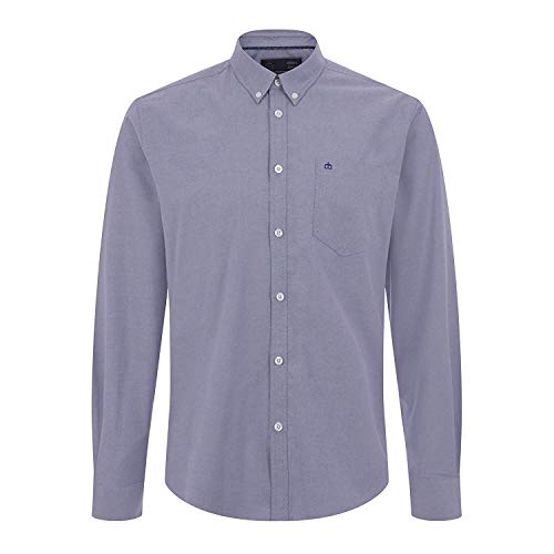 Merc London Oval Oxford Shirt in Blue Large