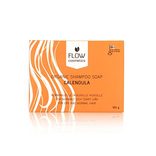Organic Calendula Shampoo Bar Soap - For Men, Women, Kids by Flow Cosmetics - Nourishing Shampoo Bar for Normal, Dry and Curly Hair - All Natural Moisturising and Voluminous, Soft Hair - Great for Travel