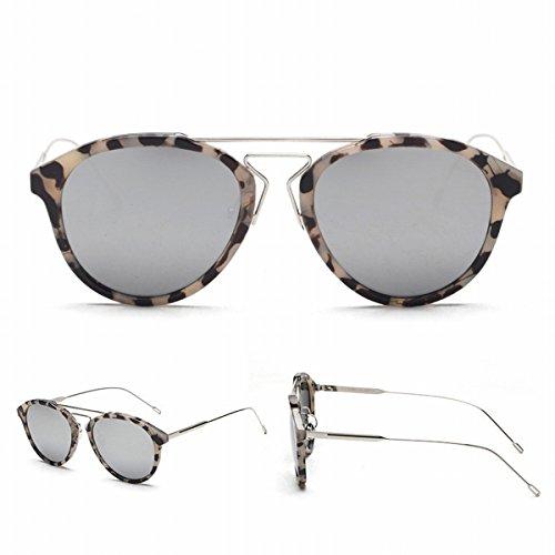 Runde Farbe Transparente Linse Sonnenbrille Männliche Sonnenbrille 2 Strahl Runde Gesicht Gläser Weiblich Wasser Weißes Merkur (Wasser Merkur)