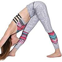 Yoga Mujer Deportivas Pantalones,Alto Elásticas de Cintura Estampado Imprimir DE Floral Empalmado de Leggins Polainas Pilates Fitness Pantalones Calados De Costura En Botón Pantalones de Yoga
