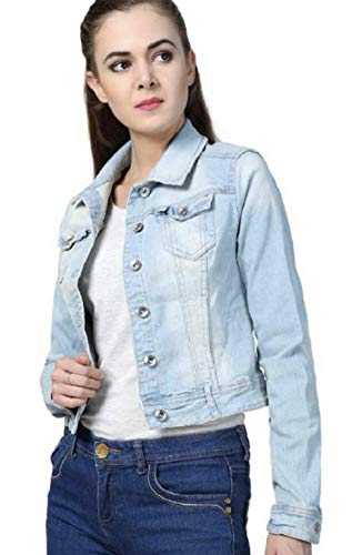 Antik Full Sleeve Comfort Fit Regular Collar Blue Womens Denim Jacket