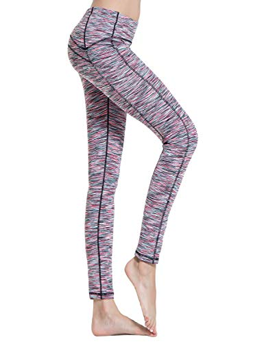 Croslimit Damen Yoga Leggings - Upgrade hoher bund Tummy Control - Hidden Pocket - Plus Size Sport Leggings Running Tights Training hose Casual Trousers (M, Rosa Space Dye(Seiten tasche))