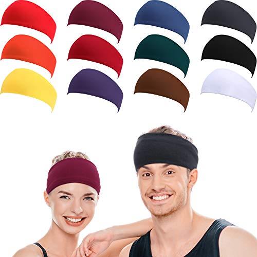 WILLBOND 12 Stücke Sport Stirnband für Männer, Frauen, Schweiß Band und Sport Haarbänder, Frauen, Schweiß Bänder zum Laufen, Crossfit, Yoga und Rad Performance, Strecken Feuchtigkeit Schweißband