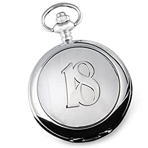 De Walden Engraved 18th Birthday Pocket Watch with Pewter '18' Case in a Quality Wooden Gift Box