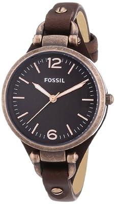 Fossil ES3200 - Reloj de cuarzo para mujer, con correa de cuero, color marrón