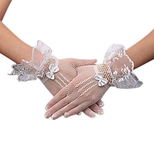 (Anqeeso Mesh-Brauthandschuhe, Kurze Abschlussball-Party-Hochzeitshandschuhe mit Bogenknoten)