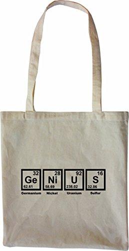 Mister Merchandise Tasche Genius Periodentafel Chemistry Mathe Nerd Math Stofftasche , Farbe: Schwarz Natur