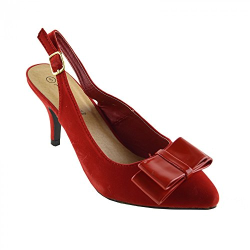 Kick Footwear - Donna Nuovo minimo a Metà del Blocco Tacchi Smart Corte Sling back nero Scarpe Rosso