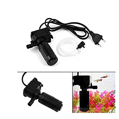 Lorsoul Mini 3 en 1 Aquarium Filtre Interne, oxygène Fish Tank Pompe Submersible Roof, EU Plug
