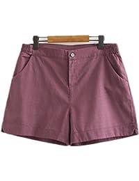 Oudan Pantalones Cortos de Lino de Las Mujeres Pantalones Cortos Grandes de  la Cintura Elástica para 0b70d6059cd