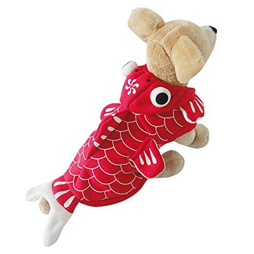 Yunt Hunde Halloween Kostüm rot Fisch Mantel mit Mütze für kleine mittelgroße Hunde XS/S/M/L/XL
