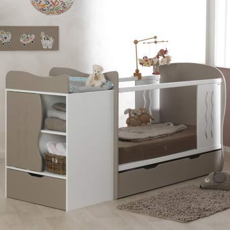 Alfred & Compagnie - Cuna Convertible en Cama con cajón 70 x 140 cm, Color Beige y Blanco