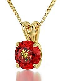 Collar de oro 14ct con circonita y Leo en oro 24ct - Cumpleaños especial para ella