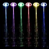 Cosanter 10 Stück Laterne Leuchtende Seide Geflecht Faser Filament Zöpfe Haarnadel LED Leuchtet Haar Fasching Karneval Haarsträhnen