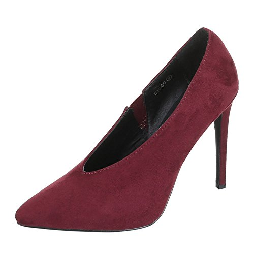 Damen Schuhe, EK-60, PUMPS STILETTO Weinrot