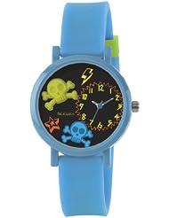 Tikkers Kinder Quarz-Uhr mit Zifferblatt Analog-Anzeige- und Blau Silikon Riemen TK0070