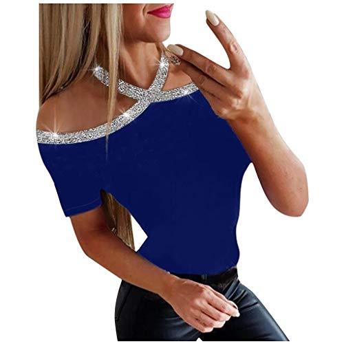 QIMANZI T-Shirts Damen Blusen Tuniken Prickelnd Kalte Schulter Lange Ärmel Pullover Beiläufig Bluse Tops(C Blau,XXL) -