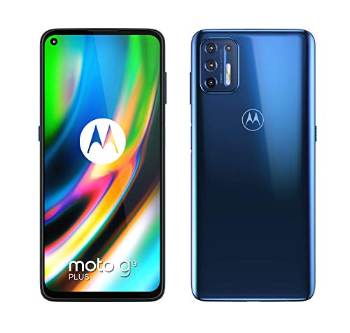 "Oferta de Motorola Moto G9 Plus - 6.81"" Max Vision FHD+, Qualcomm Snapdragon 730G, 64MP quad camera system, 5000 mAH batería Dual SIM, 4/128GB, Android 10 - Color Azul"