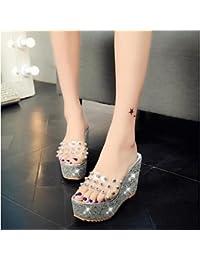 RUGAI-UE Moda de Verano Mujer sandalias casuales zapatos de tacones PU Confort caminar al