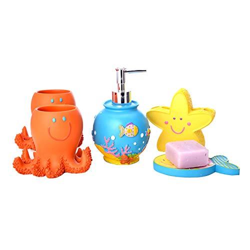 CICIN Kinder Waschen Dekoration Set, süße Harz Badezimmer Zubehör Set mit Zwei Becher, Seifenpumpe, Zahnbürste Halter, Seifenschale -