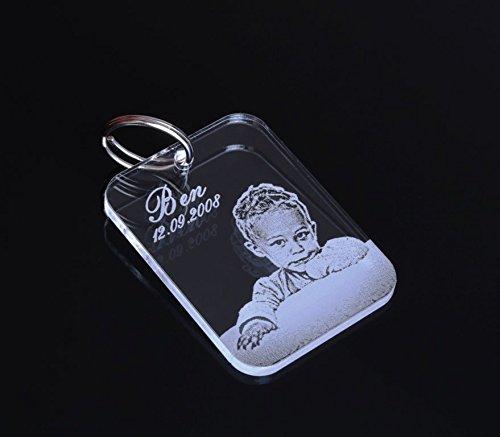 """Schlüsselanhänger mit Gravur / Fotogravur """"Dog Tag"""" Partner-Liebes-Geschenk aus hochwertigem Acrylglas mit Text-Namens-Gravur eine schöne Geschenkidee zur Hochzeit / zu Weihnachten"""