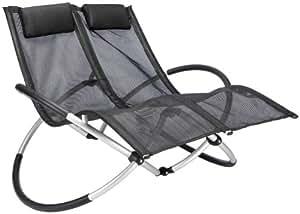 Leco 39320116 duo sedia a dondolo per due in alluminio e for Sedia a dondolo amazon