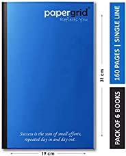 Papergrid Notebook - Long Book (31 cm x 19 cm), Single Line, 160 Pages, Soft Cover - Pack of 6