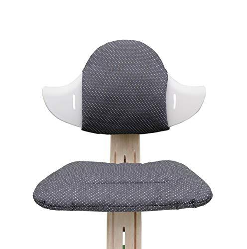 Blausberg Baby - Sitzkissen Set für Nomi Hochstuhl von Evomove - Dunkelgrau Anthrazit Pünktchen (BESCHICHTET)