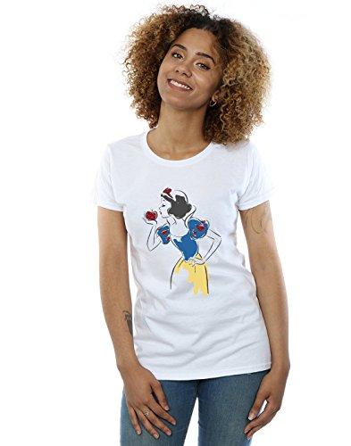 Disney Princess Damen Snow White Apple Glitter T-Shirt Weiß XX-Large (White Princess Snow)