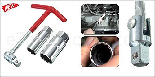 K&F - Set di attrezzi con impugnatura a T, 16 mm + 21 mm noce, chiave per candele, bussola per cambio candela, per auto, moto, ATV Quad